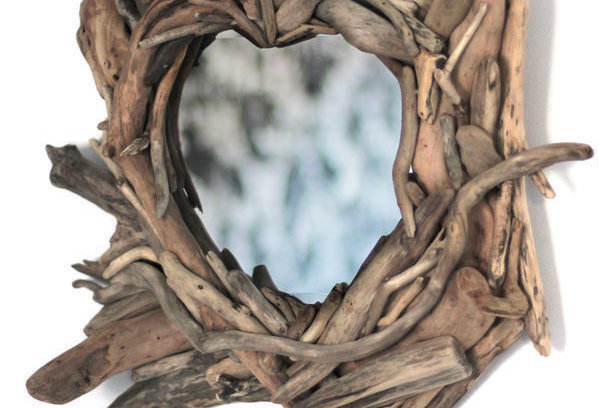 Small Heart-Shaped Driftwood Mirror