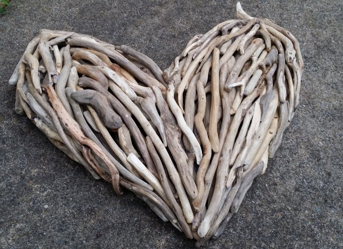 Driftwood Heart Wall Art - stone