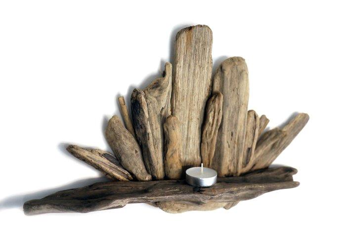 Driftwood TeaLight Shelf Candle
