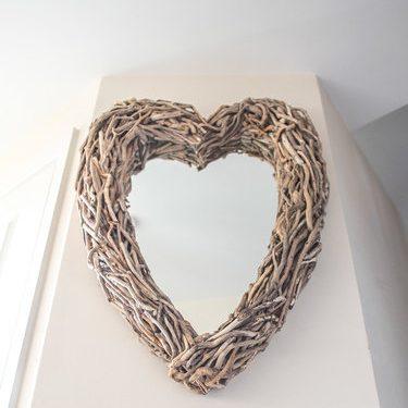 driftwood heart mirror